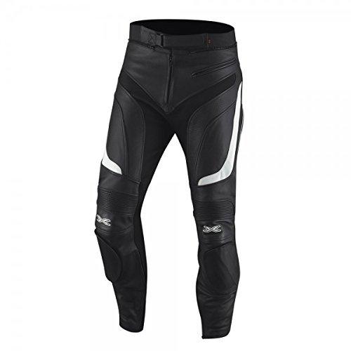 IXS Raul Pantaloni Pelle Moto - nero-bianco, 50