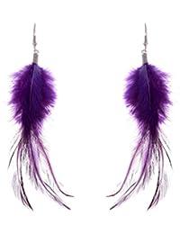 Lureme® bohémien Style Feathers with Petit Plume Gland Dangle boucles d'oreilles for Women and Filles (02004736) (rouge)