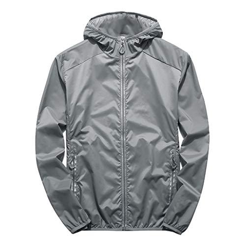 Longra Herren Sommerjacke Übergangsjacke Zipper mäntel Bomberjacke übergangsjacke Herren Outdoor Sonnenschutzkleidung - Nylon Running-anzug