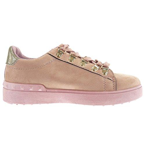 Angkorly damen Schuhe Sneaker Keilabsatz - low - Perle - Nieten - besetzt - golden flache Ferse 2.5 CM Rosa