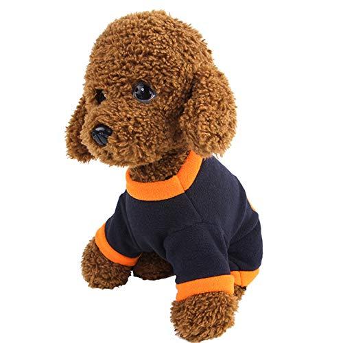 Junyee Halloween-Kürbis-Kostüm, Fleece Pets Warme Kleidung T-Shirts für Hundewelpen Weihnachten Ostern Festival Activity-L