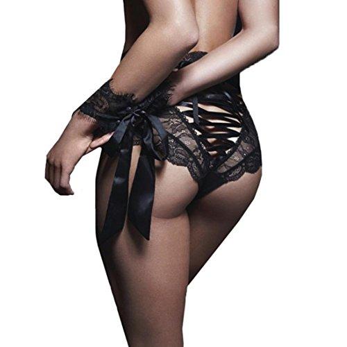 Holeider Frauen Sexy Dessous Unterhose Bare Nachahmung Spitze (M, Schwarz) (Bh Und Tanga Set Victoria Secret)