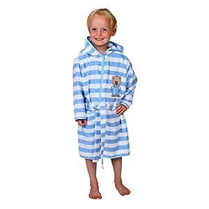 Kinder Bademantel Kinderbademantel mit Kapuze Teddy Farbe Hellblau geringelt Größen 74/80 - 110/116 Größe 110/116, 100% Baumwolle