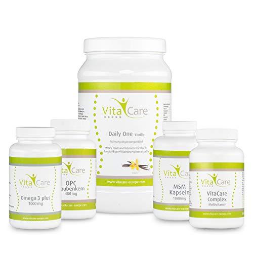 VitaCare 21-Tage-Stoffwechselkur mit Daily One Proteinshake Vanille, HCG-Diät Komplettpaket für ca. 1 Monat mit Anleitung, perfekt um Mangelerscheinungen bei der Diät vorzubeugen