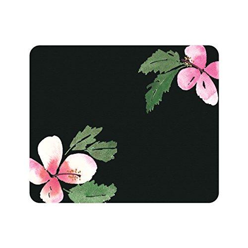 centon-otm-prints-black-mouse-pad-hibiscus-pink-green-op-mpv1bm-art-47