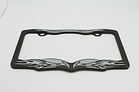 (1) 3D Chrome Metal Aluminum Eagle Flame License Plate Frame Surround USA Type Size