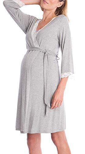 SEMIR Umstandsnachthemd/Still-Nachthemd für Schwangere Nachthemd-Nachtwäsche zum Stillen Grau XL