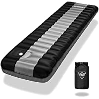 ENKEEO Luftmatratze Fuß-Inflation 12cm Dick Ultraleichte Isomatte Aufblasbare Matratzen Sleeping Pad, Wasserabweisend & Rutschfest für Camping, Wandern, 200 * 64cm, bis zu 150kg Kapazität