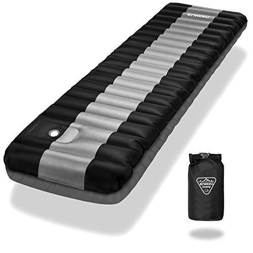 ENKEEO Luftmatratze Fuß-Inflation 12cm Dick Ultraleichte Isomatte Aufblasbare Matratzen Sleeping Pad, Wasserabweisend & Rutschfest für Camping, Wandern, 200 * 64cm, bis zu 150kg Kapazität (Schwarz)