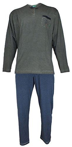 hajo Herren Premium Cotton Zweiteiliger Schlafanzug, Grau (grau 103), X-Large (Herstellergröße: 54)