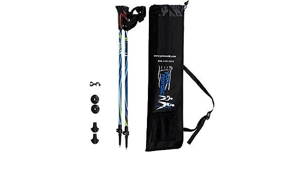 detachable feet and travel bag Lightweight w//flip locks York Nordic Blue Breeze Design Hiking /& Walking Poles and Collapsible pair YN-WN10-2012B Adjustable