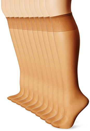 L'eggs Womens Everyday Knee Highs ST 39800, OneSize, Suntan (10 Pairs) (10 Denier Schiere)