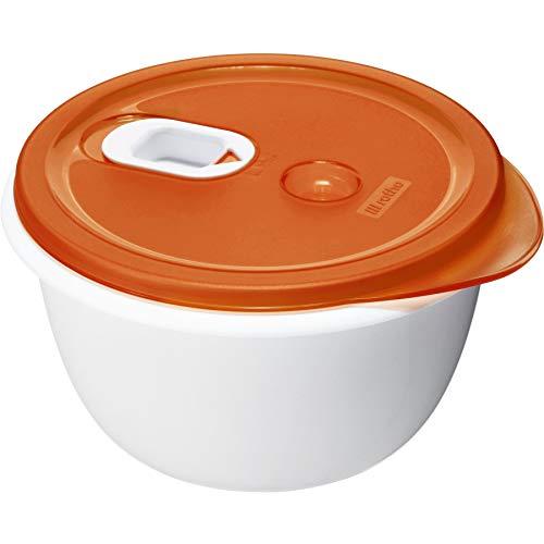 Rotho Micro Clever Schüssel geeignet für die Mikrowelle, Kunststoff (BPA-frei), rot / weiss, 1.6 Liter (19 x 19 x 10,5 cm)