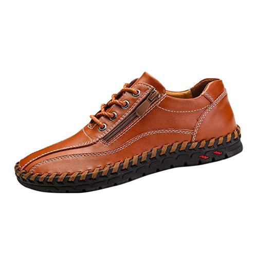 CUTUDE Lederschuhe Herren Leder Freizeitschuhe Mokassins Atmungsaktiv Slip on Loafers Outdoor Casual Sneakers Reißverschluss Retro Geschäfts Schuhe (Braun, 41 EU)