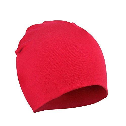 Azue Baby Mütze Junge Babymütze Frühling Mützchen Kleinkind Wendemütze Jersey Slouch Beanie Babybekleidung Unisex Baby Hut Rot Groß (1-4 Jahre)