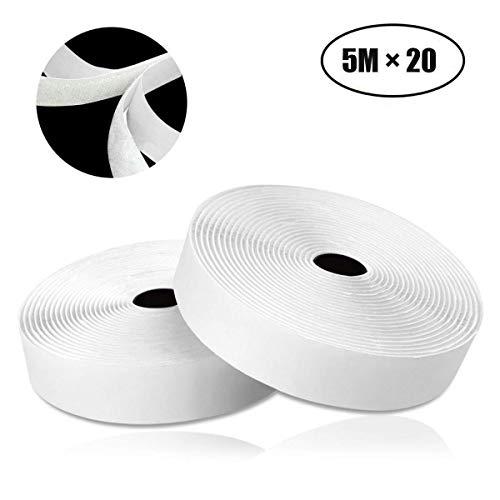 COCOCITY Nastro Adesivo in Velcro, Strisce Laccio Adesivo [5 M × 2 cm] Aderenza Forte, Autoadesivo Hook Loop per Portafoto, Fai da te - Bianco