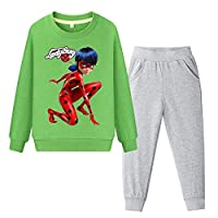 BSHDUFN Miraculous Ladybug Sweatshirt Comfortable Kids Classic Set-in Printed Sweatshirt+Cotton Trousers Elasticated Waist Pants Suit Miraculous Ladybug Pullover (Color : Green, Size : 130)