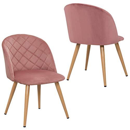 Duhome 2er Set Esszimmerstuhl aus Stoff SAMT Rosa Pink Stuhl Retro Design Polsterstuhl mit Rückenlehne Metallbeine...