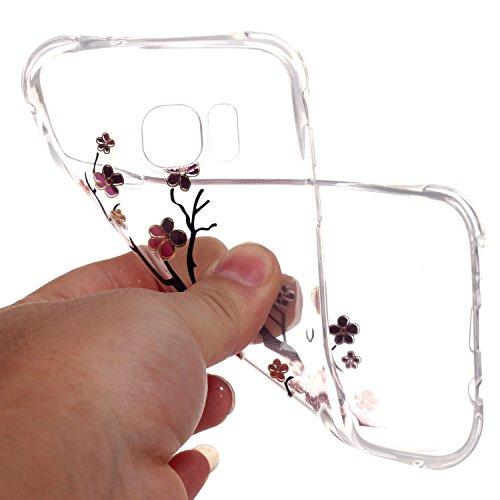 Samsung Galaxy S7 Edge Coque,Samsung Galaxy S7 Edge Gel Motif métallique TPU Case Feeltech Apple iPhone SE Case Silicone Clair Ultra Mince Premium Bumper iPhone 5S Housse Légère Étui Protecteur Transp Fleur de Prunier