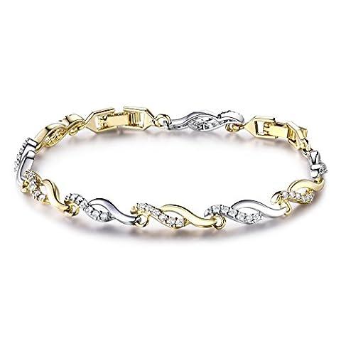 Bracelet Swarovski Femme Bijoux Ondulant Elégant 20CM Orné Cubique CZ Transparent Plaqué Or Pour Mariage,soirée,anniversaire