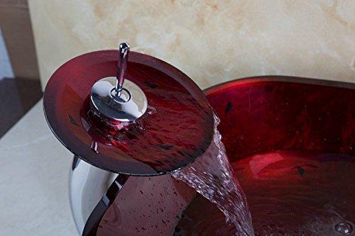 Gowe carré Couleur bordeaux Cascade de salle de bain Vessel robinet de lavabo avec égouttoir Laxuary Verre Lavabo Ensemble