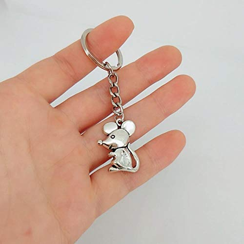 Niedliche Cartoon-Maus Schlüsselband Antike Silber Ratte Schlüsselanhänger Geschenk für Kinder