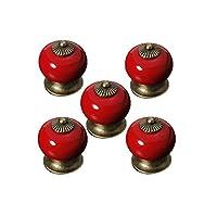 OULII Redonda de cerámica cocina tirar tiradores armario pomos de puerta de gabinete cajón (rojo) Pack 5