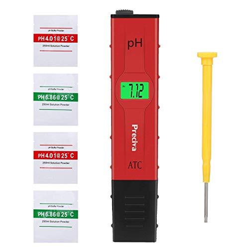 Preciva pH Messgerät mit 4 Tütchen zum Kalibrieren, pH Wert Messgerät Digital pH Meter 0,00-14,00 pH Messbereich Wassertester für Aquarium, Pool, Labor, Urin usw. - Rot