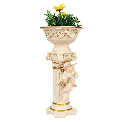 Wonderland Cupid / Angel pillar Planter WITH FLOWERS for Home / Garden & Outdoor decor