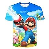 SJZCTxu Tee Shirt Enfant série Mario à Manches Courtes pour Enfants, Impression 3D Confort Respirant,130