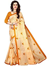 Nirmla Fashion Cotton Silk Saree With Blouse Piece(Saree Batarflay Yellow_Yellow_Free Size)
