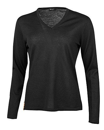 agon - Premium Damen Strick-Pullover, extrafein, 100% Merino-Wolle, V-Ausschnitt, Total-Easy-Care Schwarz 40/L -