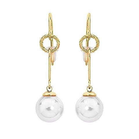Majorica lange Haken Ohrringe, rund, 10 mm Perlen, Weiß