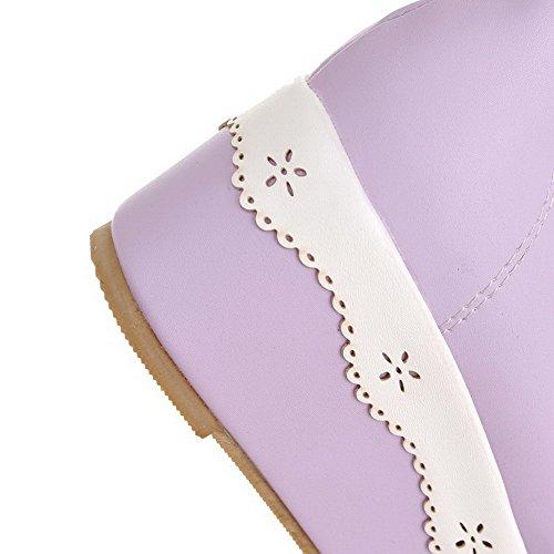 Roxos Senhoras Médio Rendas Rodada Salto Sapatos Macio Material Allhqfashion Toe Bombas 7wvqTHxT