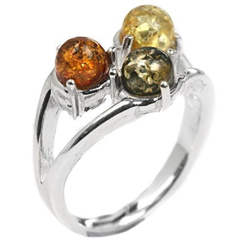 Noda Anello in Argento Sterling e 3 Ambra Multicolore Misura 26,5 - Filigrana Anello Setting