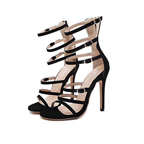 Women es High Heels, Ladies ' Roman Open Toe Straps High-Heeled Sexy Openwork Fine Heel ()