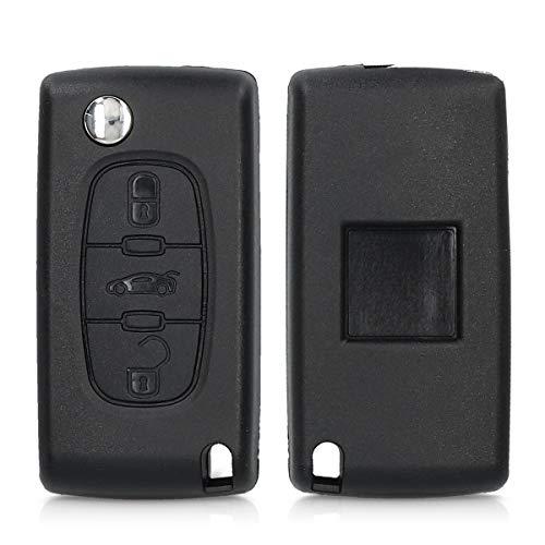 kwmobile Gehäuse für Peugeot Citroen Autoschlüssel - ohne Transponder Batterien Elektronik - Auto Schlüsselgehäuse für Peugeot Citroen 3-Tasten Autoschlüssel - Schwarz