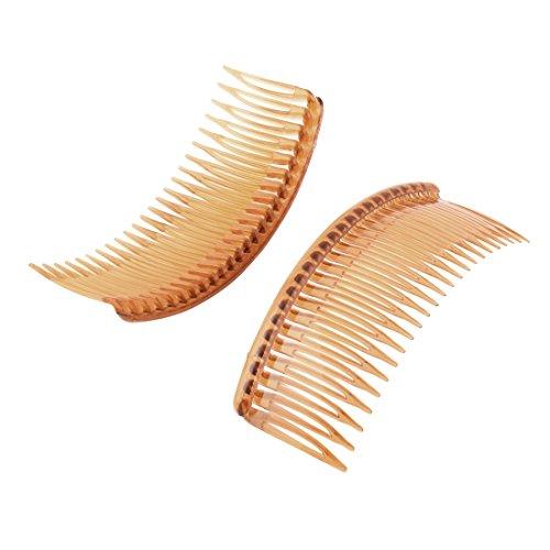 sourcingmap Dame Femme 24 dent plastique fantaisie bricolage Peigne cheveux brun épingle 2Pcs