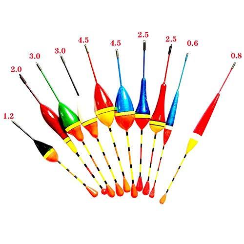 10 Stück/Set New Fishing Floats Set Boje Bobber Fisch Light Stick Floats Mix Größe Farbe Fishing Floats -