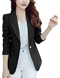 85746adf2854 Blazer Donna Taglie Forti Chic Elegante Business Slim Fit Giubbotto Tailleur  Manica Lunga di Colore Solido