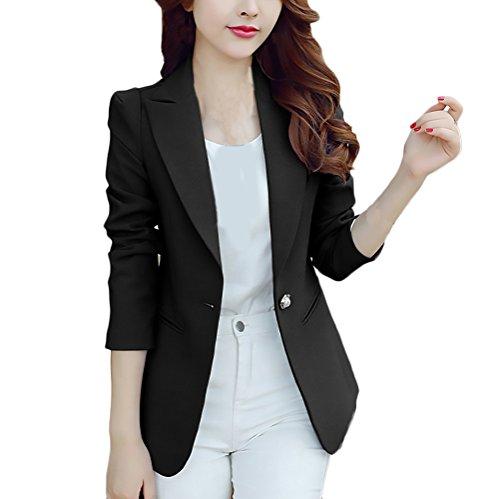 7da6589f088d Blazer Donna Taglie Forti Chic Elegante Business Slim Fit Giubbotto  Tailleur Manica Lunga Di Colore Solido
