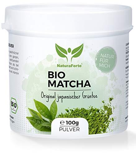 NaturaForte Bio Matcha-Tee Pulver 100g - Original Grüntee-Pulver aus Japan, Organic Green Tea zum Backen und für Latte in Aroma-Schutzdose, Natürlich Grün, Hochwertig und extra fein gemahlen, Vegan