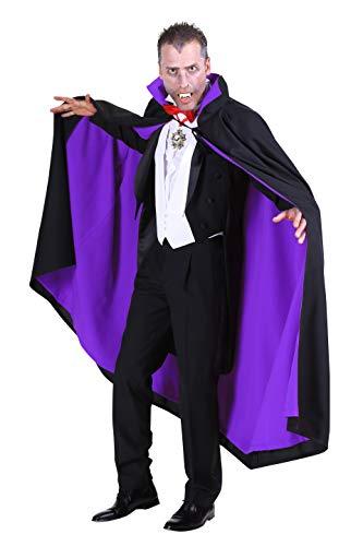 Vampir-Umhang Herren Damen Schwarz Lila 135cm Gefüttert | Cape mit Stehkragen für Mittelalter- Gothic- & Halloween-Kostüm | Karneval Fasching Verkleidung - Herren Teufel Kostüm Übergröße