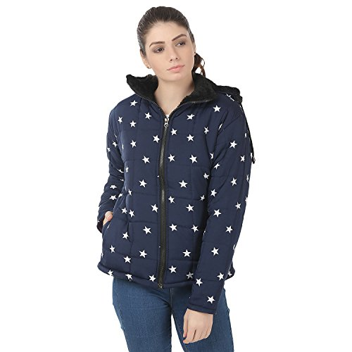 My Swag Navy Blue Crepe Full Sleeve Quilted Jacket for Women Large