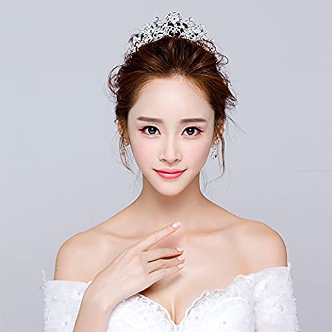 XNHG Coiffure de mariée Art de la mode Pierres de Strass Perle de la mariée Bracelets de cheveux Robe de mariée centimes faits à la main décorés Tiara en