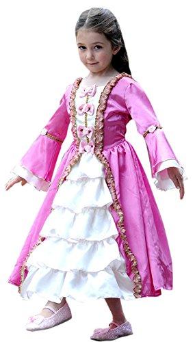erdbeerloft - Mädchen Karneval Komplett Kostüm Kleid Marie Antoinette, Rosa, Größe 116-128, 6-8 (Viktorianische Mädchen Puppe Kostüme)