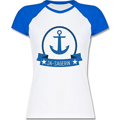 JGA Junggesellinnenabschied - Ja-Sagerin Anker - zweifarbiges Baseballshirt / Raglan T-Shirt für Damen Weiß/Royalblau