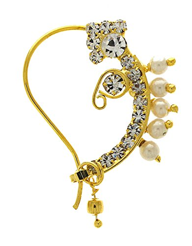 Anuradha Art Gold Tone Styled With Beads Wonderful Classy Maharashtrian Look Traditional Nath/Nose Pin For Women/Girls