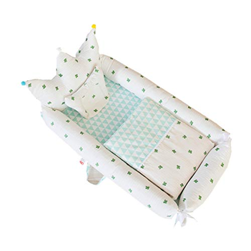 WNZL Baby Lounger, Co Sleeping Baby Stubenwagen - Babybett aus Baumwolle Premium-Qualität und größere Größe (0-24 Monate) - Atmungsaktives, hypoallergenes, tragbares Kinderbett,1 -