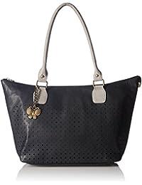Butterflies Women's Handbag (Black And Cream) (Set Of 2) (BNS WB0192)
